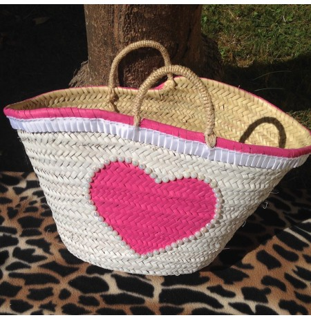 White beach bag funny pink heart with fancy pearls
