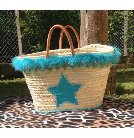 Big beach bag turquoise blue star