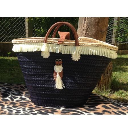 Navy blue beach basket pom-pom chic