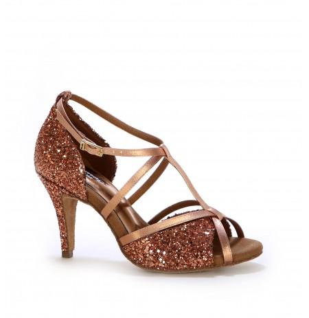 Glittery bronze Salsa dance heels