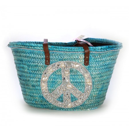 Blue peace and love beach bag