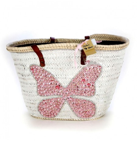 Bicycle beach bag with pearls and jewels