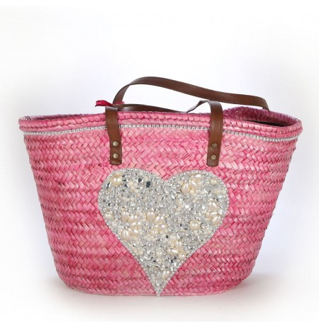 Pink heart beach bag with jewels