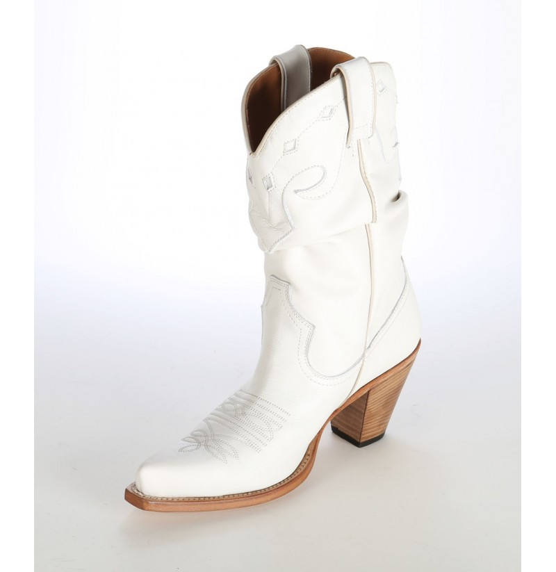 934a0bf07259 Low cut leather cowboy boots High quality white leather boots