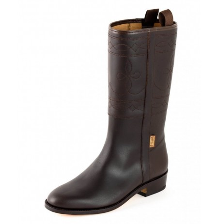 Brown spanish leather riding boots for women