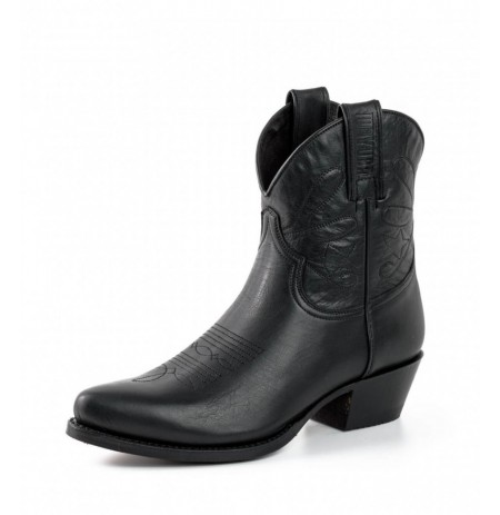 Black leather cowboy women ankle boots