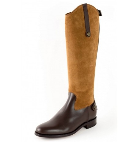 Two-tone brown leather equestrian boot