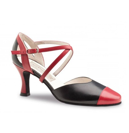 Black and red leather salomé dancing shoes