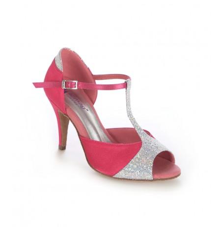Elegant Pink and silver comfort heels