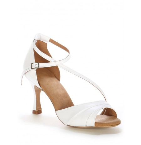 Elegant white leather bride shoes