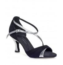Elegant black and silver satin ballroom dancing shoes