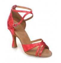 Semi-transparent diva red ballroom dancing shoes