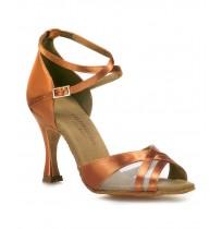 Semi-transparent copper satin ballroom dancing shoes