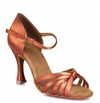 Classic copper satin ballroom dancing shoes with ankle strap