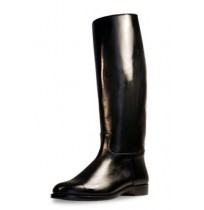 Classic knee high black leather unisex spanish riding boots