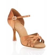 Elegant copper satin ballroom dancing shoes