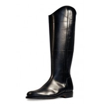 Elegant black leather riding boots
