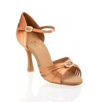 Copper satin ballroom dancing shoes with rhinestones