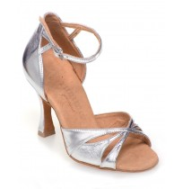 Leather silver ballroom dancing shoes