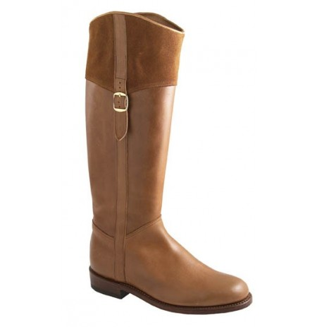 Ladies camel coloured leather and suede horse riding boots