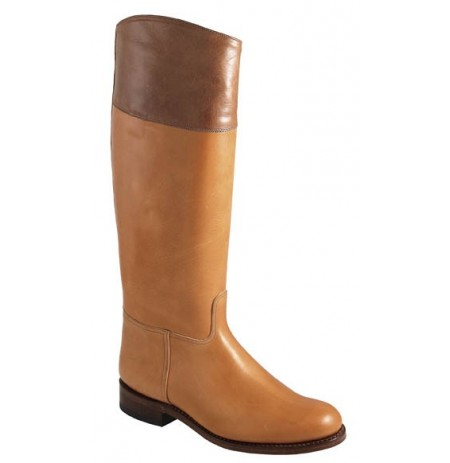 Two-coloured camel riding boots