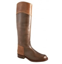 Two-coloured brown and camel leather riding boots