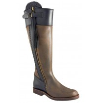 Original brown Spanish style leather riding boots with tassels