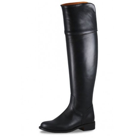 Leather riding boots with high uppers
