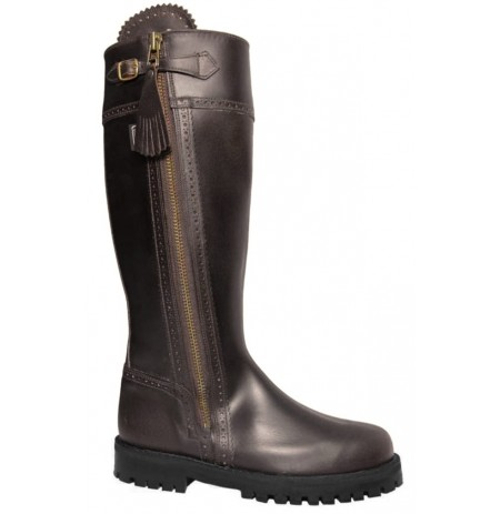 Brown leather lugged hunting boots