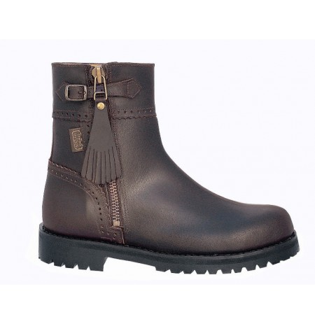 Brown leather hunting ankle boots