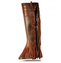 Brown leather riding gaiters with fringes