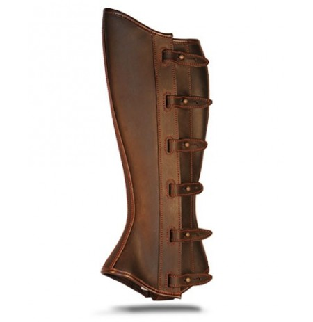 Portuguese brown leather riding gaiters with bridles