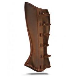 Mini chaps cuir marron à franges