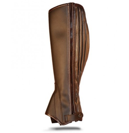 Brown leather riding gaiter with accordion pleat