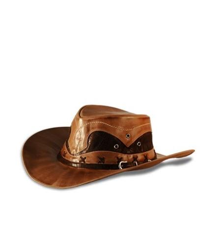 Original brown leather cowboy hat