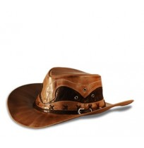 Original brown leather cowboy hat