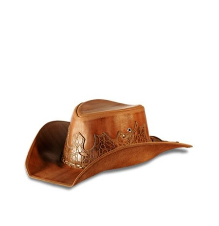 Brown leather cowboy hat