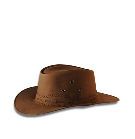 Brown nubuck leather cowboy hat