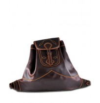 Overstitched brown leather backpack