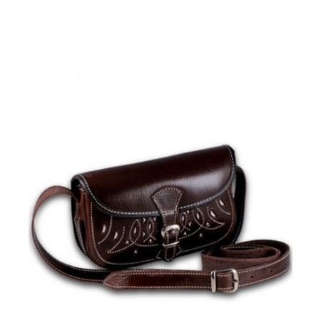 Sidesaddle brown leather purse