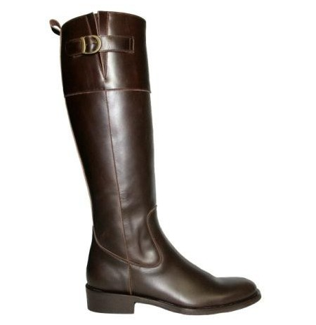 Custom-made brown leather riding boots for women