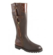 Made to measure brown leather hunting boots with buckles