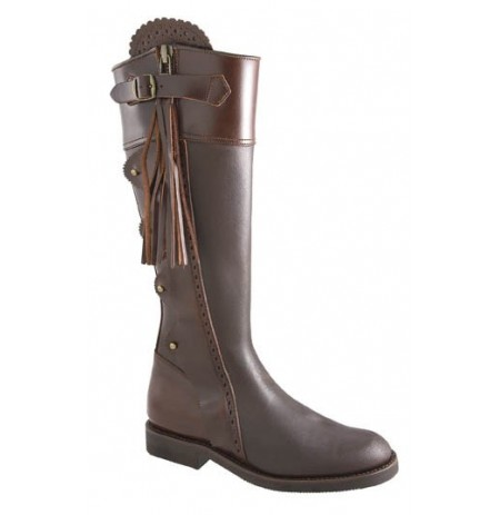 Iberian brown leather hunting boots