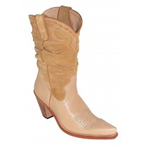 Mixed beige leather cowboy boots for women