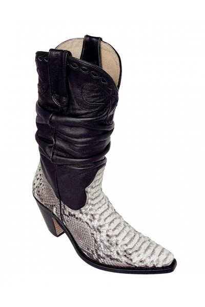 3836f819e25 Real python and black leather cowboy boots for women