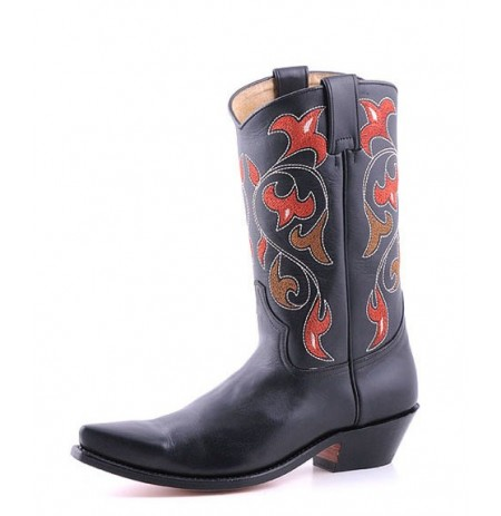 Black leather cowboy boots with embroidered flowers
