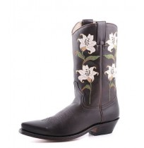 Original leather cowboy boots for women with embroidered flowers