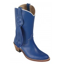 Blue leather cowboy boots for women