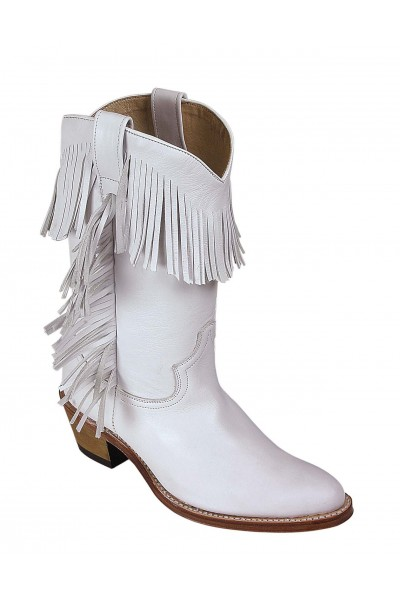 25b0170a7199 Ladies low cut cowgirl boots WHITE FRINGED WESTERN BOOTS