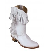 White leather cowboy boots for women with tassels